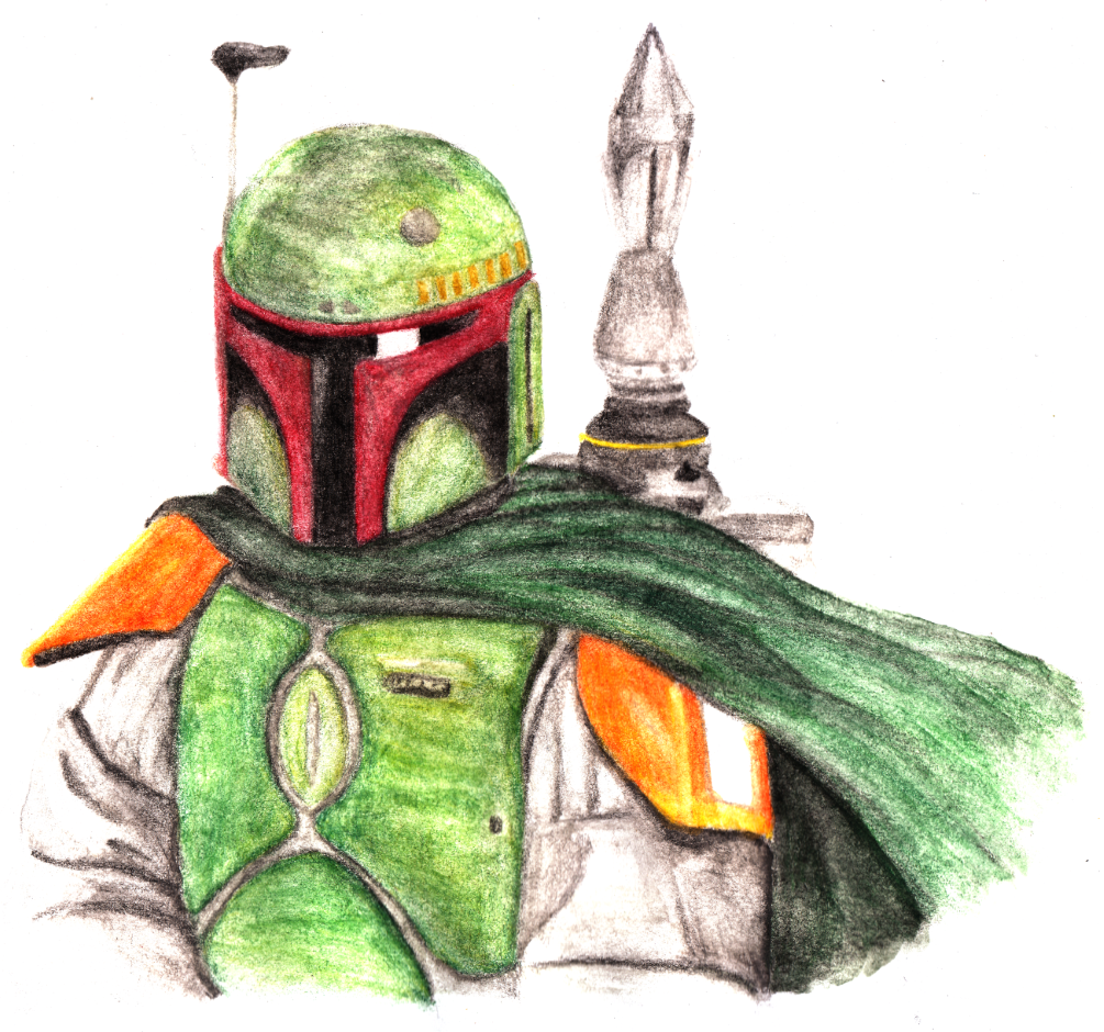 Boba Fett in Watercolor Pencil